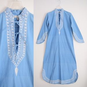 🌱 Vintage Chambray Kaftan Boho Maxi Dress